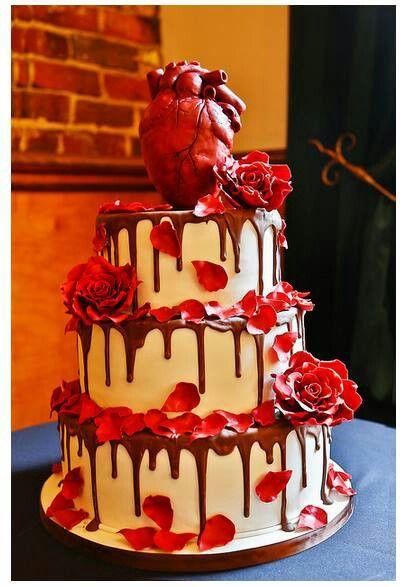 Bleeding Heart Wedding Cake