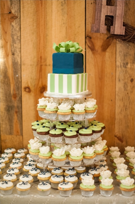Blue and Green Cupcake Wedding Cakes