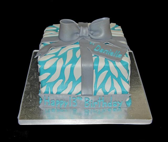 Blue and White Birthday Cake