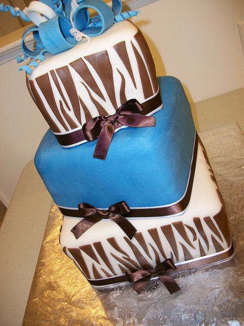 Blue Zebra Print Cake
