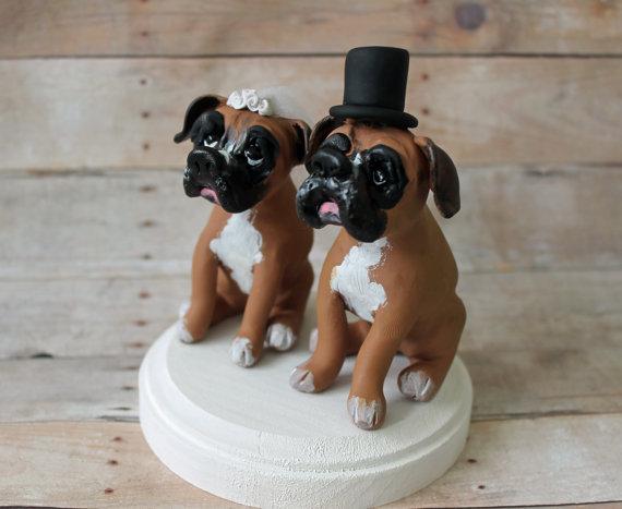 Boxer Dog Wedding Cake Topper
