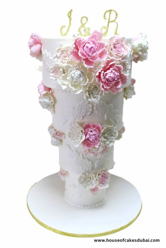 Cakes with Flowers Down the Side