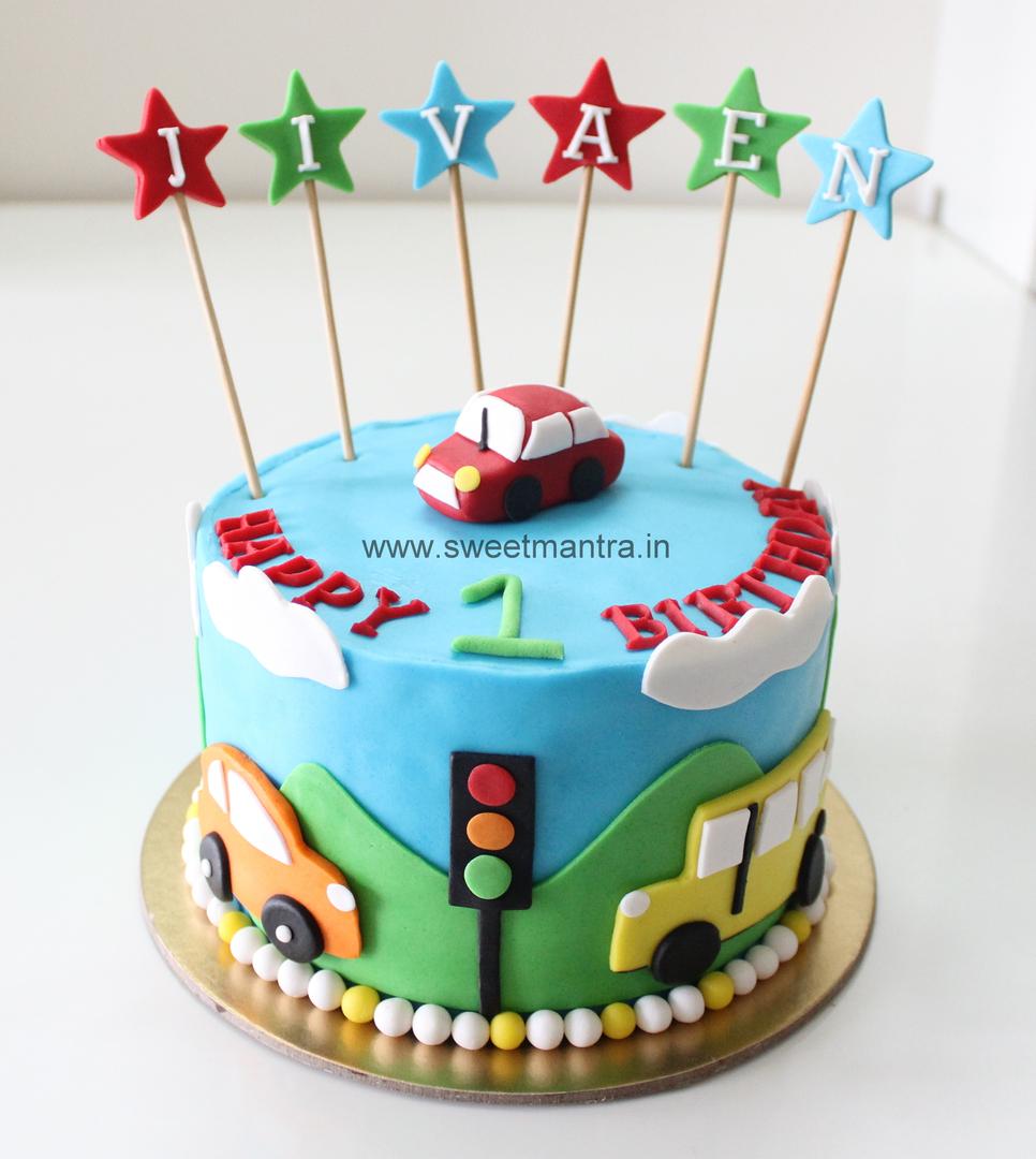 Car Theme 1st Birthday Cake