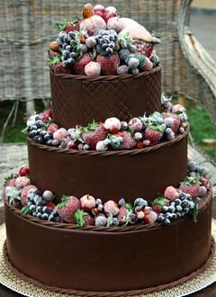 Chocolate Wedding Cake with Fruit