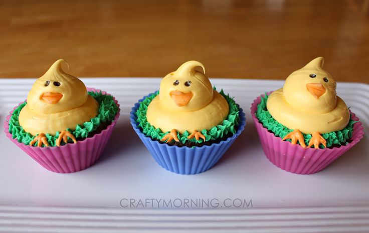Cute Easter Chick Cupcakes