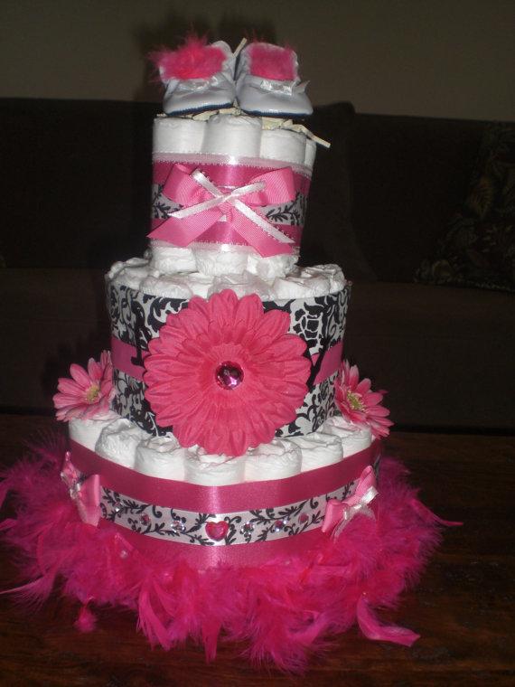 Damask Baby Shower Diaper Cake