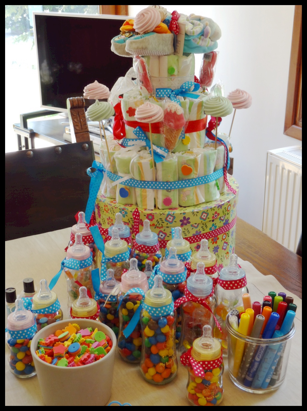 Do It Yourself Diaper Cake for Baby Shower