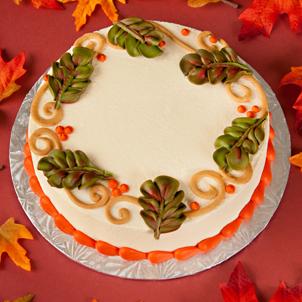 Fall Scroll Work Cake