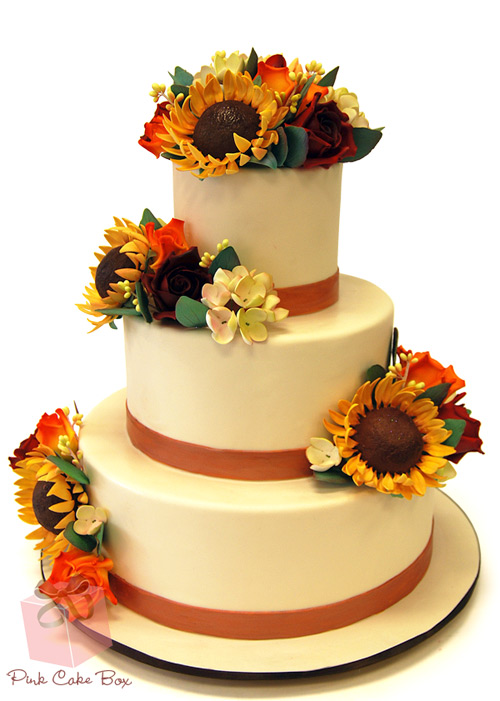 Fall Sunflower Wedding Cake