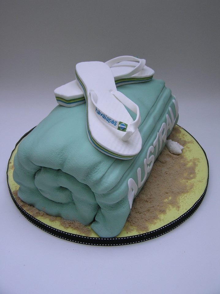 Flip Flop Beach Towel Cake