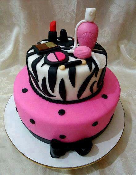 Girl's Makeup Birthday Cakes