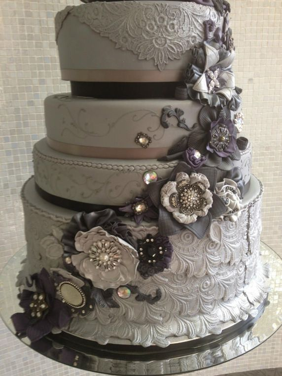 Grey Elegant Wedding Cake
