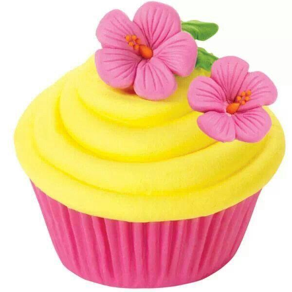 Hawaiian Flower Cupcakes
