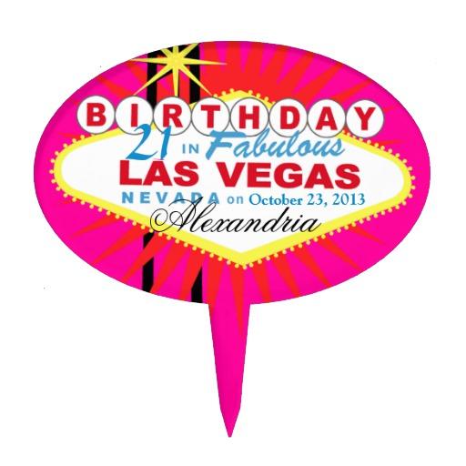 Las Vegas 21st Birthday Cake Topper
