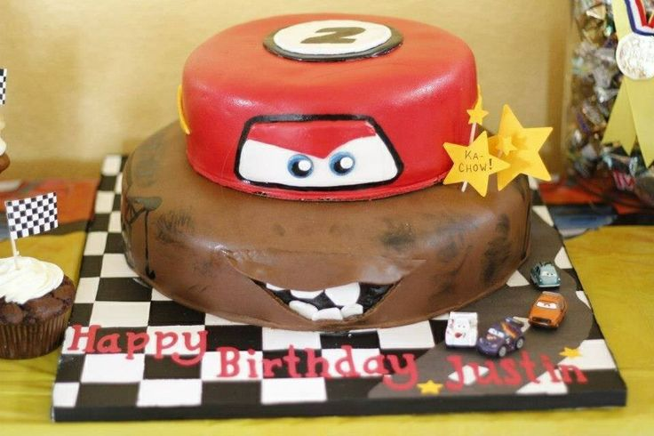 Lightning McQueen and Mater Birthday Cake
