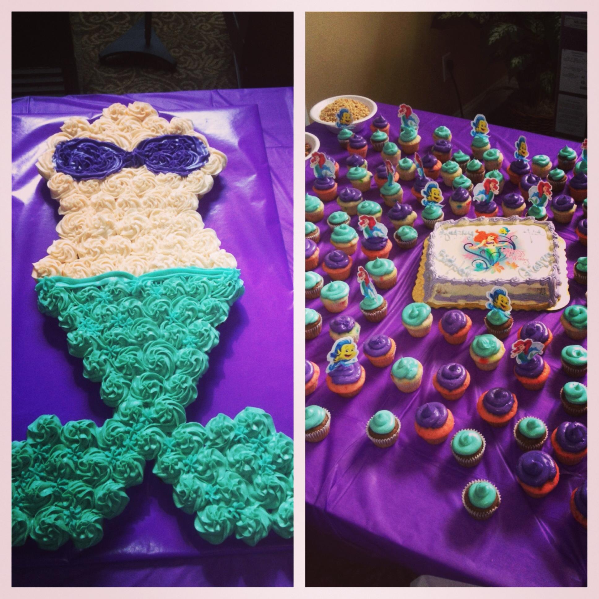 Mermaid Pull Apart Cupcake Cake