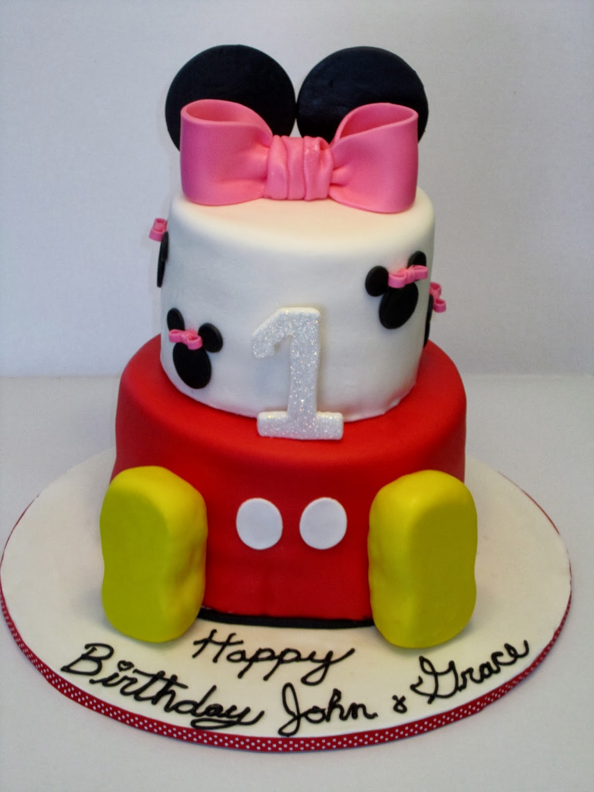 Mickey and Minnie Twin Birthday Cakes