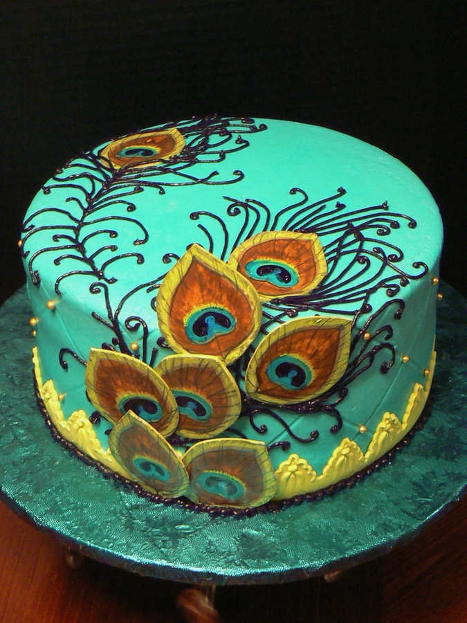 Peacock Feather Birthday Cake