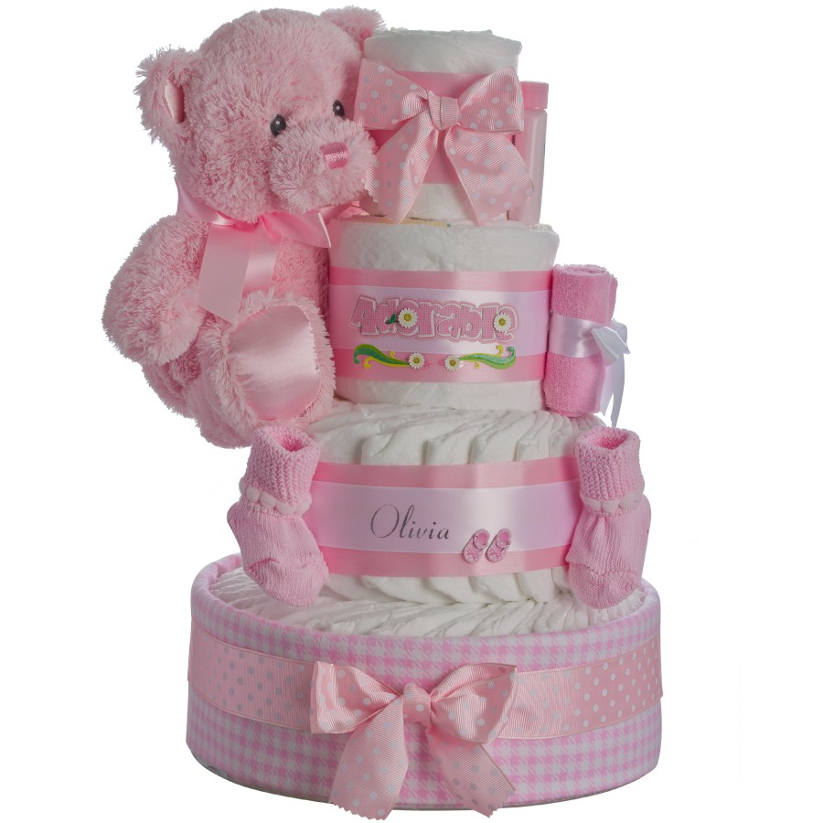 Personalized Baby Girl Diaper Cake