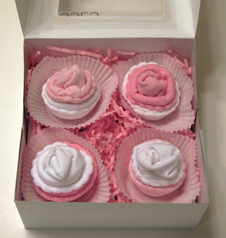 Pinterest Baby Shower Sock Cupcakes