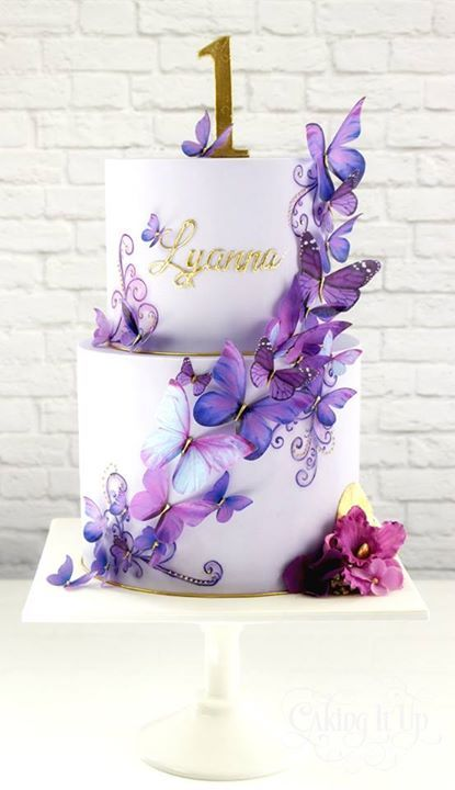 Purple Butterfly Birthday Cake