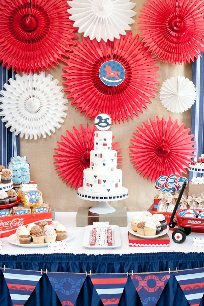 Red White and Blue Baby Shower Rocking Horse