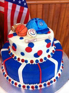 Red White Blue Baby Shower Cake
