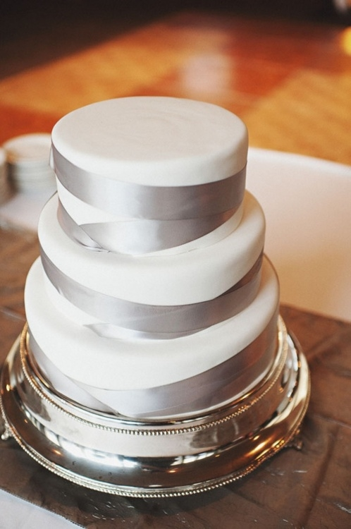 Silver Wedding Cake with Ribbon