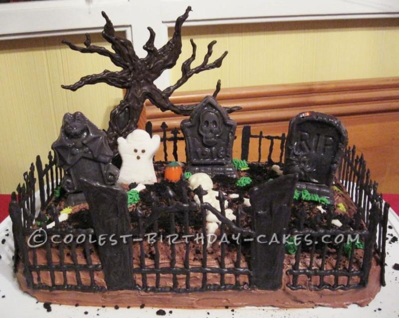 Spooky Graveyard Cake
