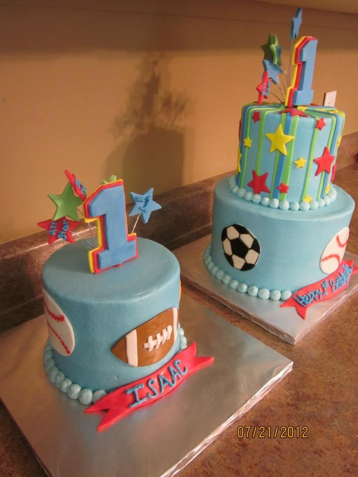 Sports 1st Birthday Cake