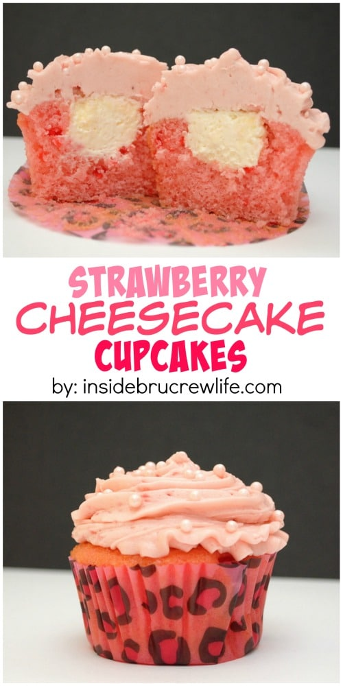 Strawberry Cheesecake Cupcakes with Filling
