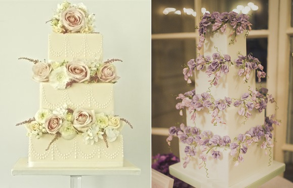 Sweet Pea Wedding Cakes with Flowers