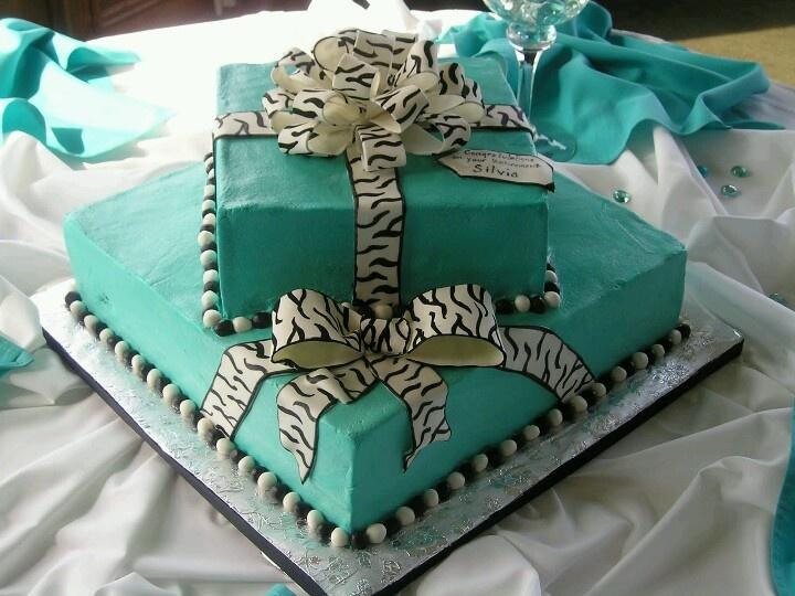Tiffany Blue and Zebra Birthday Cake