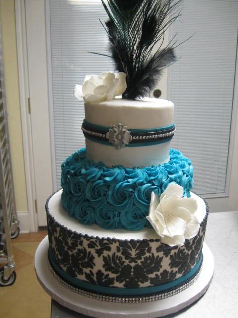 Turquoise Black and White Wedding Cakes