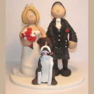 Wedding Cake Toppers Bride and Groom Dog