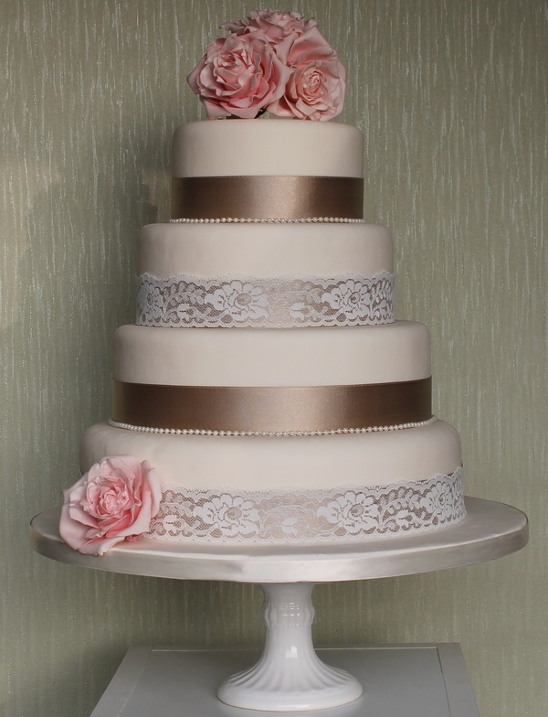 Wedding Cake with Lace and Ribbons