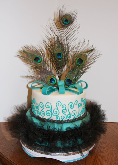 Wedding Cake with Peacock Feather