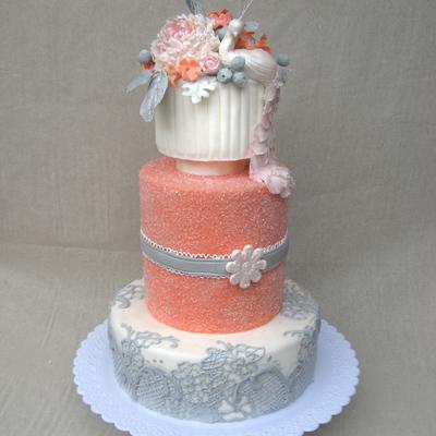 Wedding Cake with Peacock
