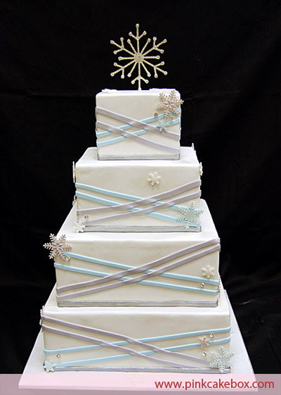 Winter Wonderland Wedding Cake Square