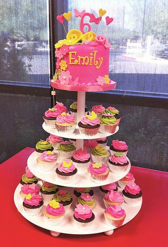 Yellow and Green Cupcake Birthday Cake