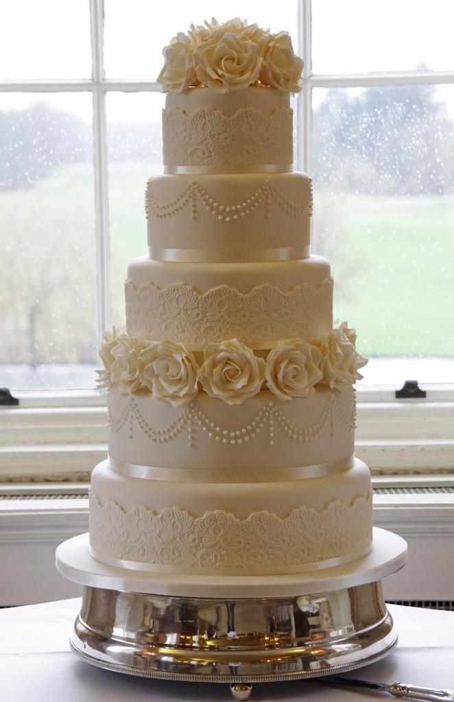 5 Tier Wedding Cake Ivory