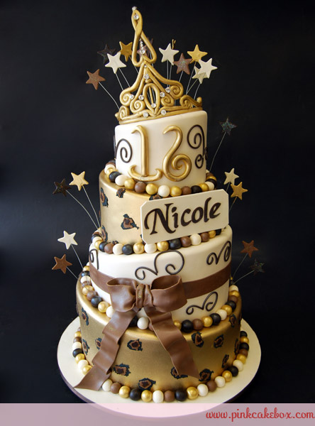 Black and Gold Sweet 16 Cakes