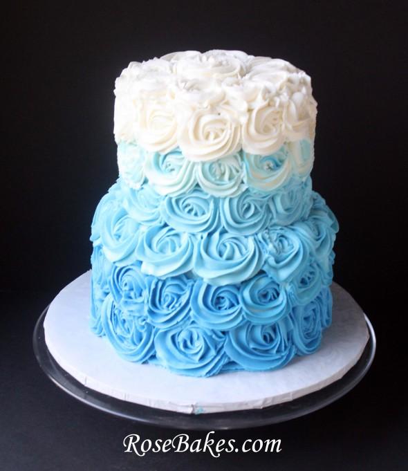 Blue Buttercream Wedding Cakes
