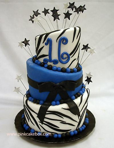 Blue Sweet 16 Birthday Cakes