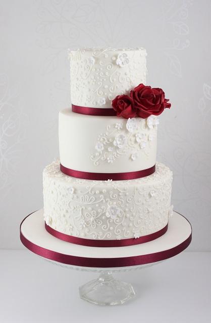 Burgundy and Gold Wedding Cake