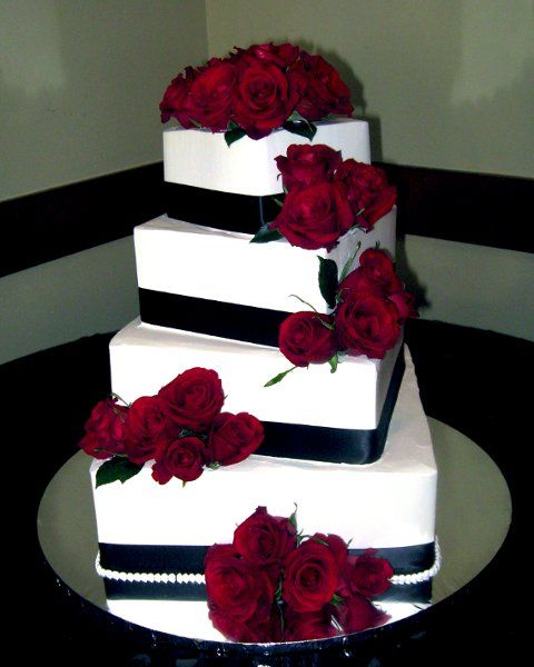Burgundy and White Wedding Cake