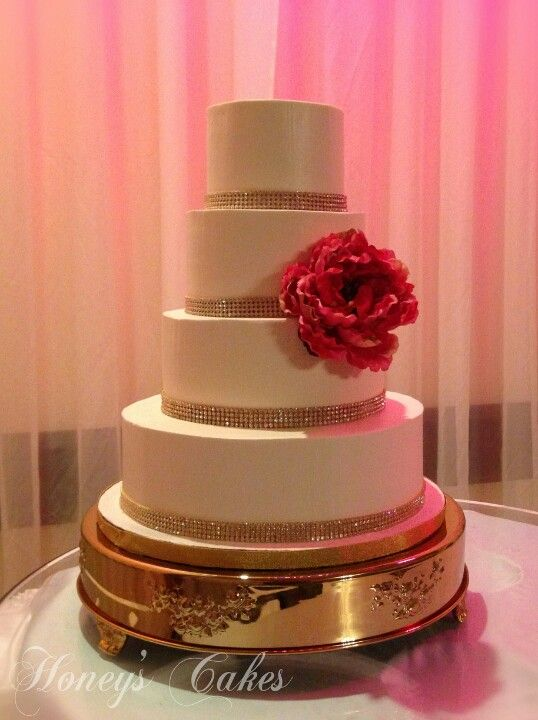 Elegant Buttercream Wedding Cakes with Bling