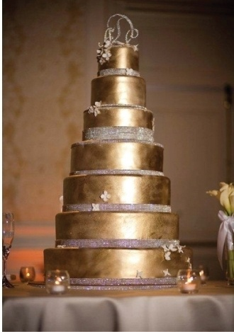 Gold and Bling Wedding Cake