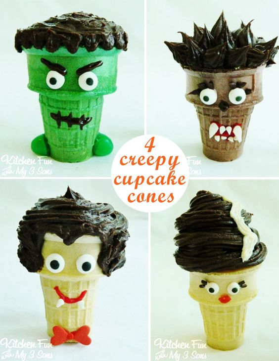Ice Cream Cone Cupcakes Halloween Monster