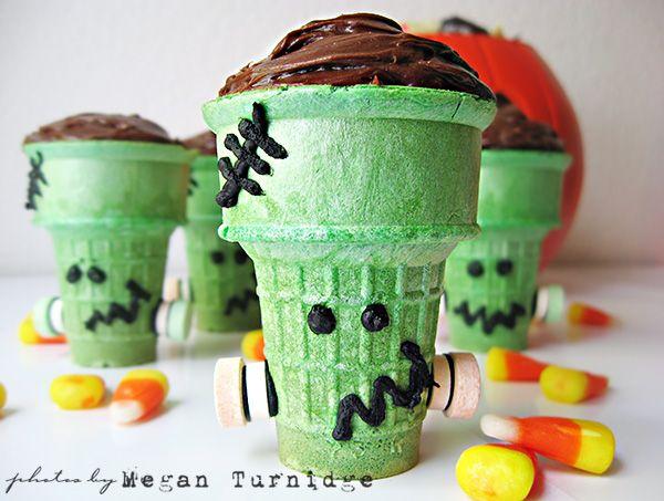 Kids Halloween Frankenstein Cupcakes